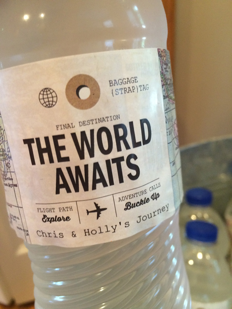 Travel bridal shower water bottle labels.
