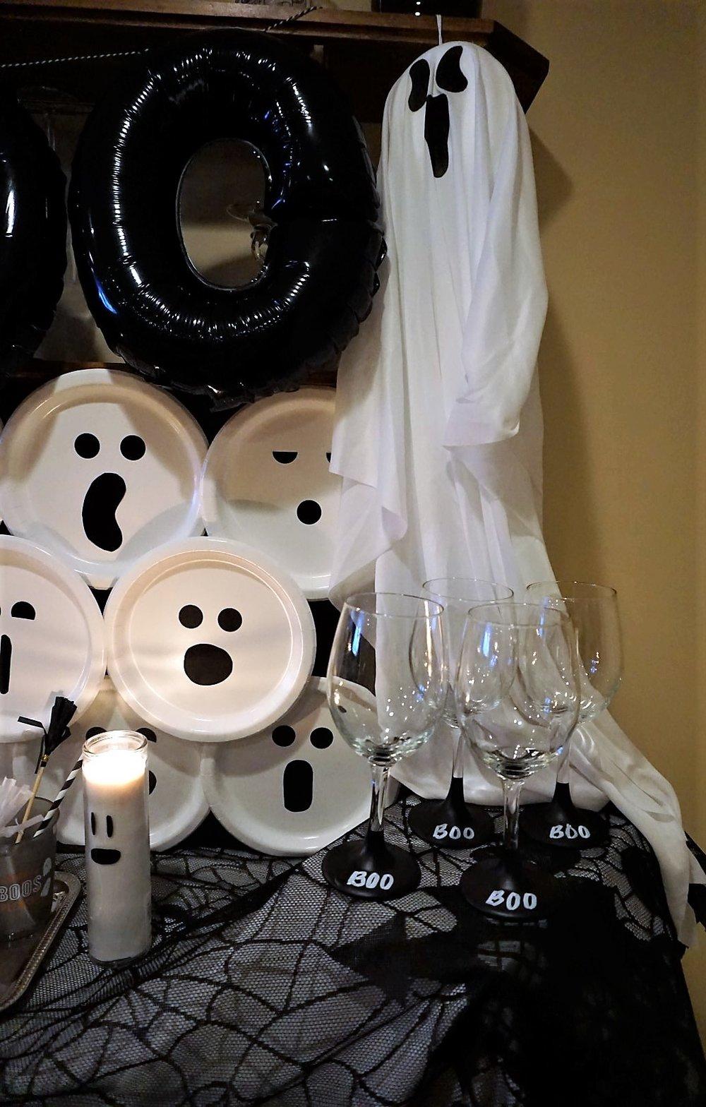 DIY wine glasses for Halloween.