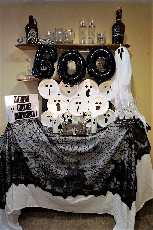 More Boos Please Halloween Ghost Bar made with budget friendly supplies. #halloweenparty #halloweenbar #moreboosplease