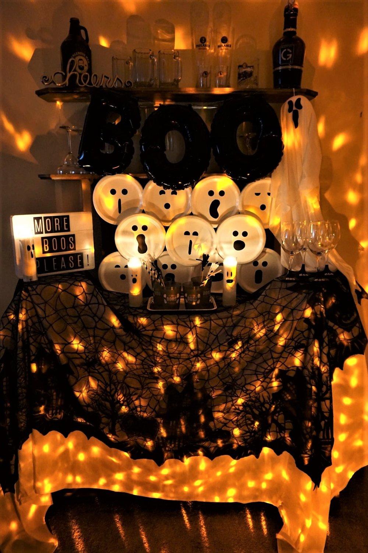 Orange lighted Halloween bar using Points of Light LED light display.