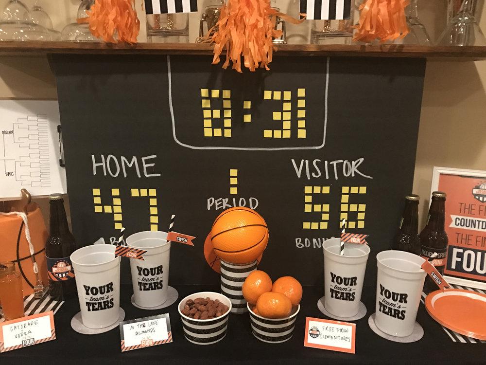 DIY basketball scoreboard tutorial using foam board, foam sheets, and a chalk marker.