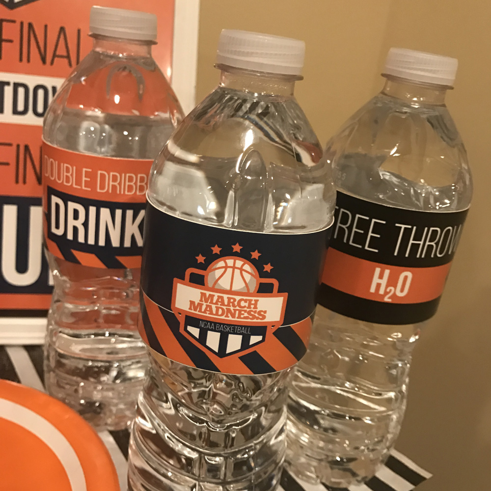 March Madness and Final Four water bottle labels.