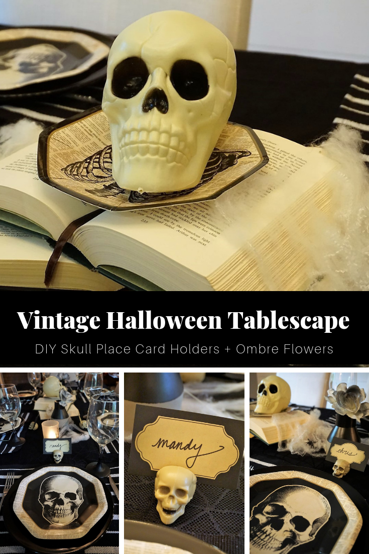 Click here to learn how a few simple DIYs and trip to the thrift store can help you set a spooky table! | Legally Crafty #halloween #halloweentable #halloweendiy