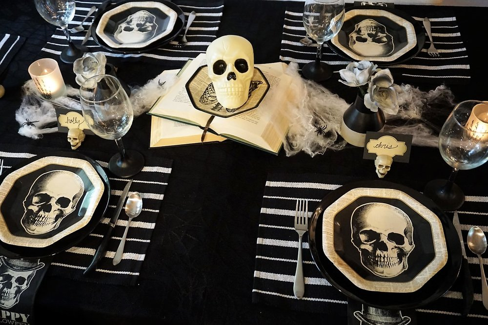 Can you believe many of these items came from Dollar Tree or Goodwill? Learn how to make the most out of your budget when creating a Halloween Table. | Legally Crafty #halloweendiy #halloweentable #halloweentablescape #halloweendiy