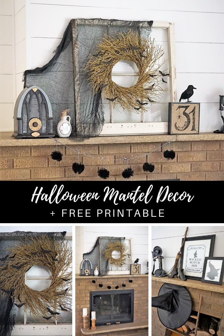 Decorate your Halloween mantel with this fun Wicked Witch Inn theme! Click here to learn how to make any wreath spooky and download your free Halloween printable! |Created by Legally Crafty #halloweendecorations #halloweenDIY #halloweencrafts #halloweenprintables #freeprintable #withdecor