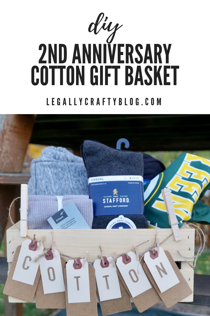 Create a cotton themed DIY gift basket for the perfect 2nd wedding anniversary gift idea. Click here to get ideas for what to include and how to add a personal touch! #anniversarygift #giftbox #giftideas #diygiftbasket #cotton