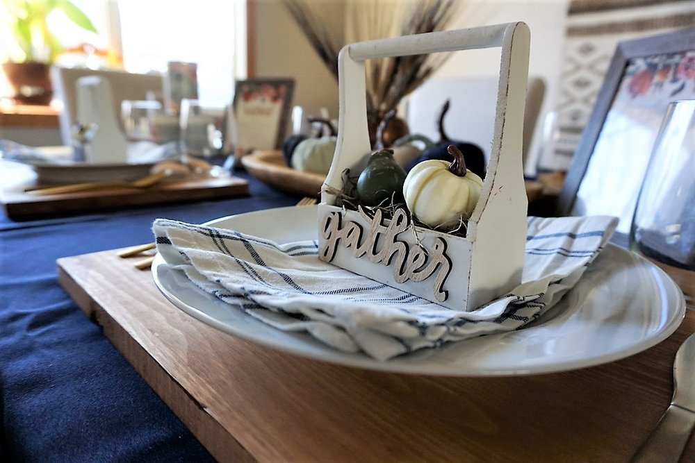 Gather wood cut out at place setting.
