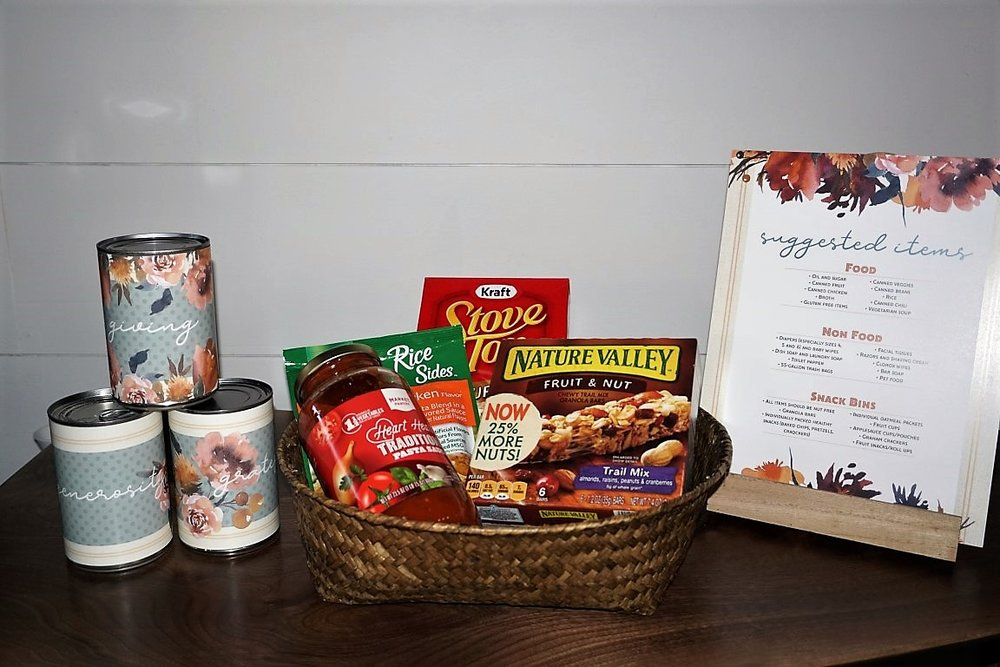 Collect items for a food shelf as a part of your Friendsgiving.