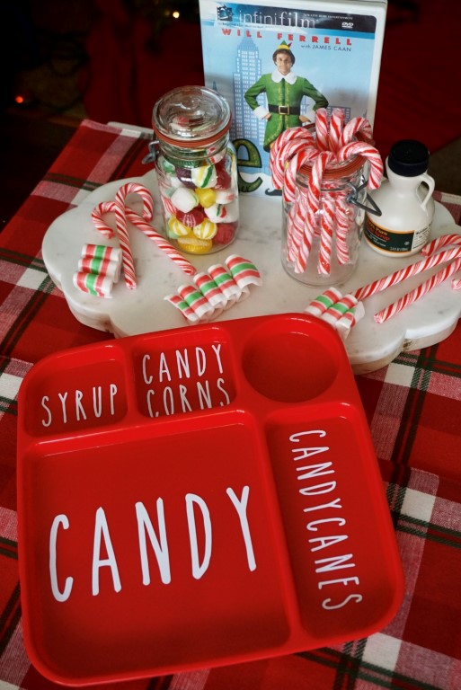 Create your own Elf themed serving tray in minutes with your Cricut maker and a Dollar Tree red tray.