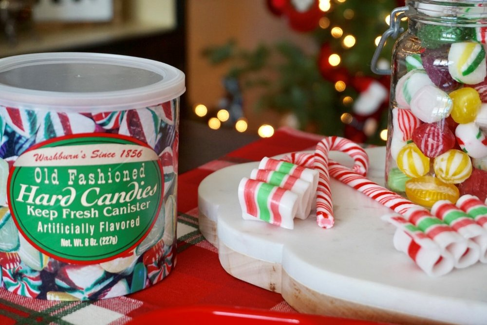 Dollar Tree Old Fashioned Candy and candy canes are a perfect themed snack for an Elf movie night.