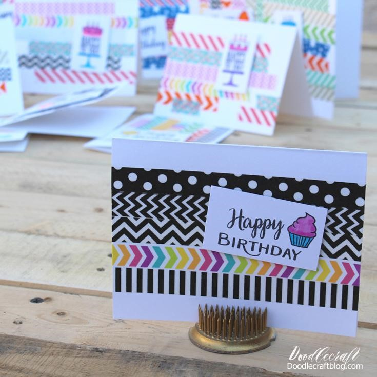 Simple Washi Tape Birthday Cards