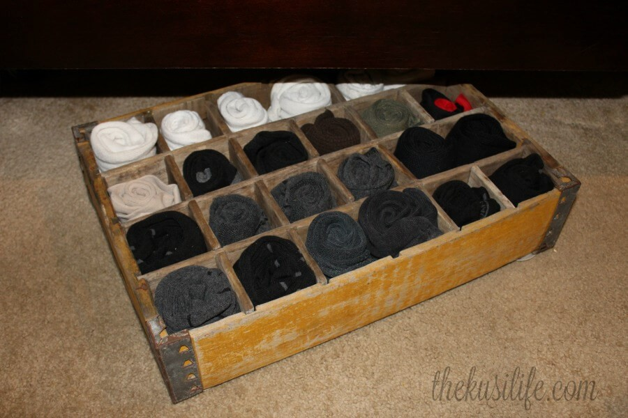 Soda Crate Sock Organizer