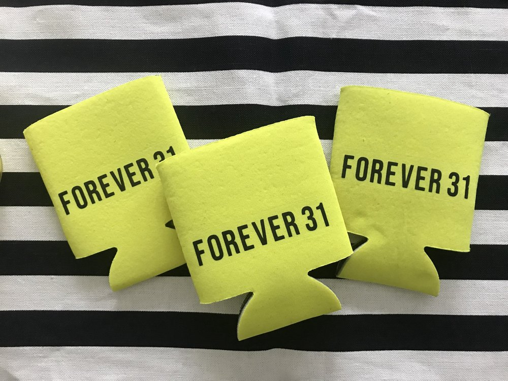 DIY your own Forever 31 koozies with Cricut iron on!