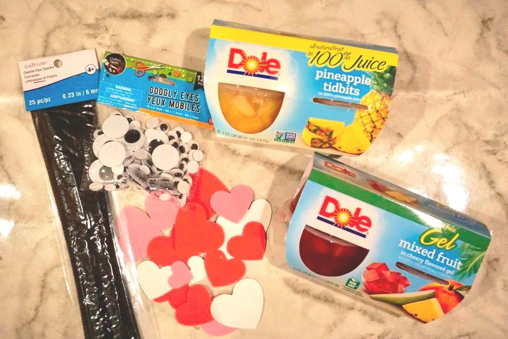 Supplies needed for love bug Valentine snack.