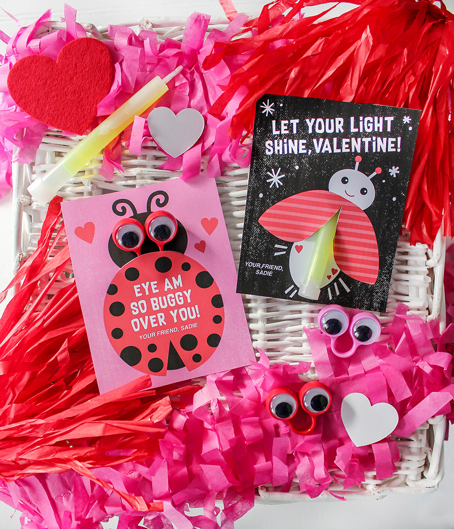 Love bug themed classroom Valentine cards.