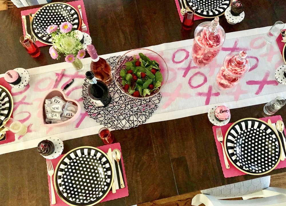 DIY Galentine's Day table runner with pink XOXO.