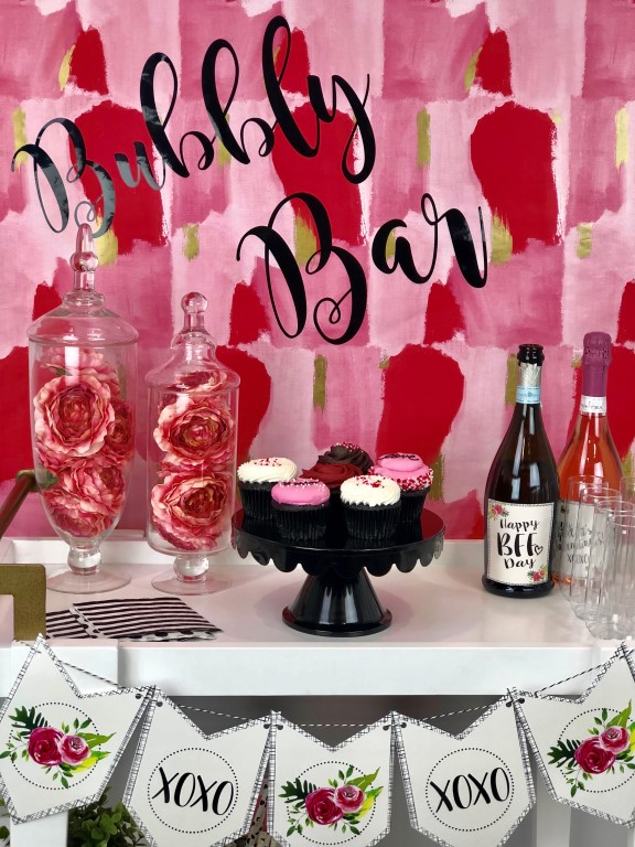 Bubbly Bar for Galentine's Day made with Cricut vinyl and wrapping paper.