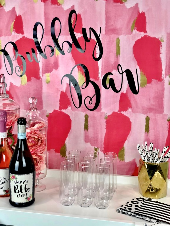 A bubbly bar is perfect for a Galentine's Day celebration!