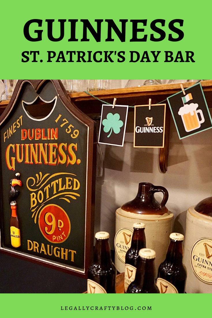 Create a festive bar for your St. Patrick's Day party with a Guinness theme. Download a free printable banner, grab a recipe for Guinness floats and download the free printable sign as well! #stpatricksday #stpatricksdayparty #guinness #irishbeer #stpattysday