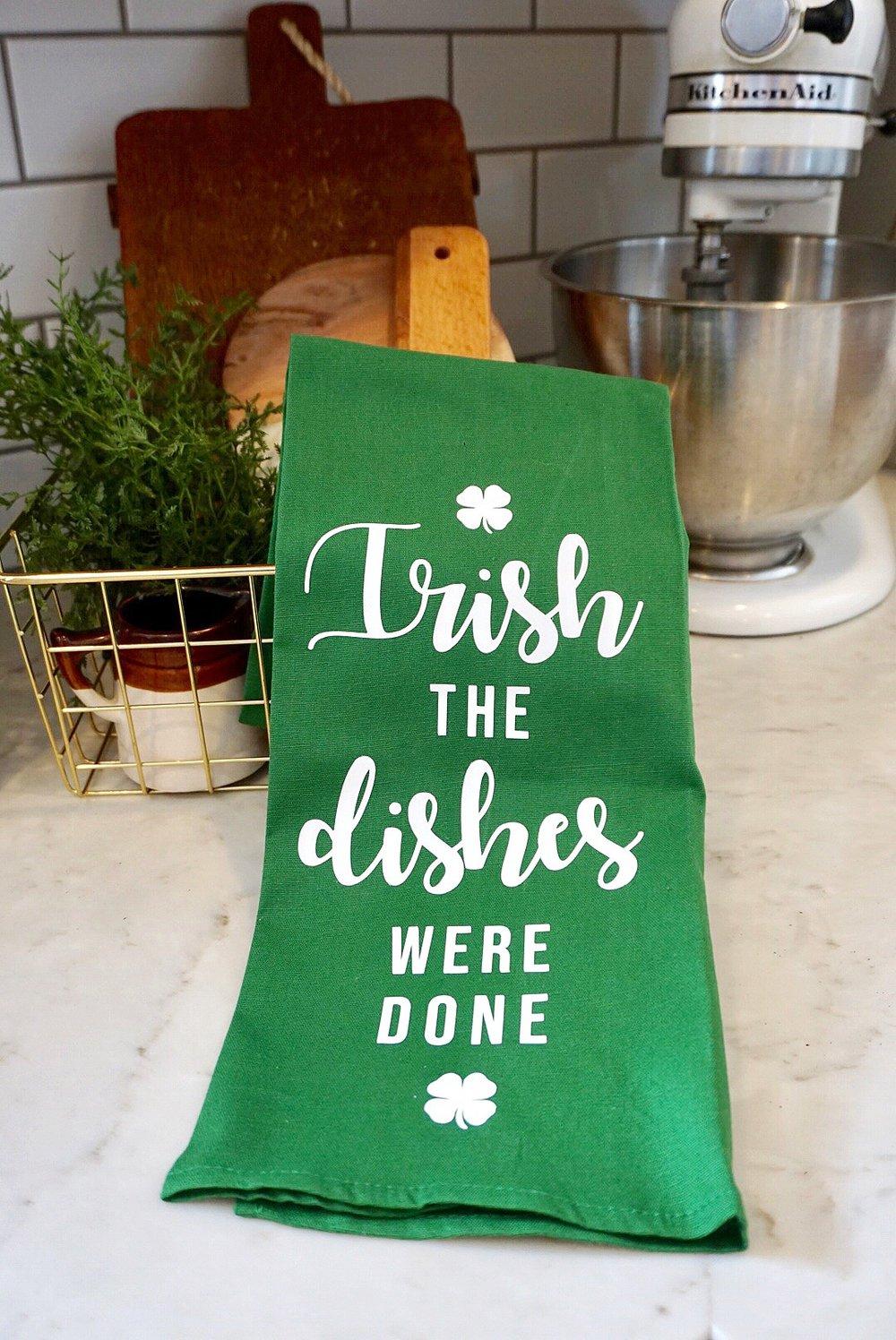 St. Patrick's Day green tea towel