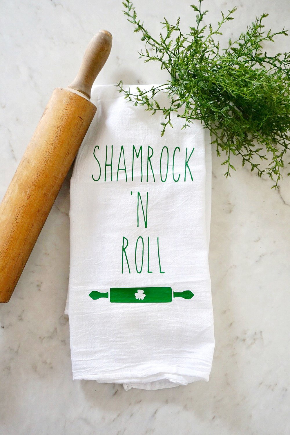 Shamrock 'n Roll St. Patrick's Day tea towel made with Cricut iron on.