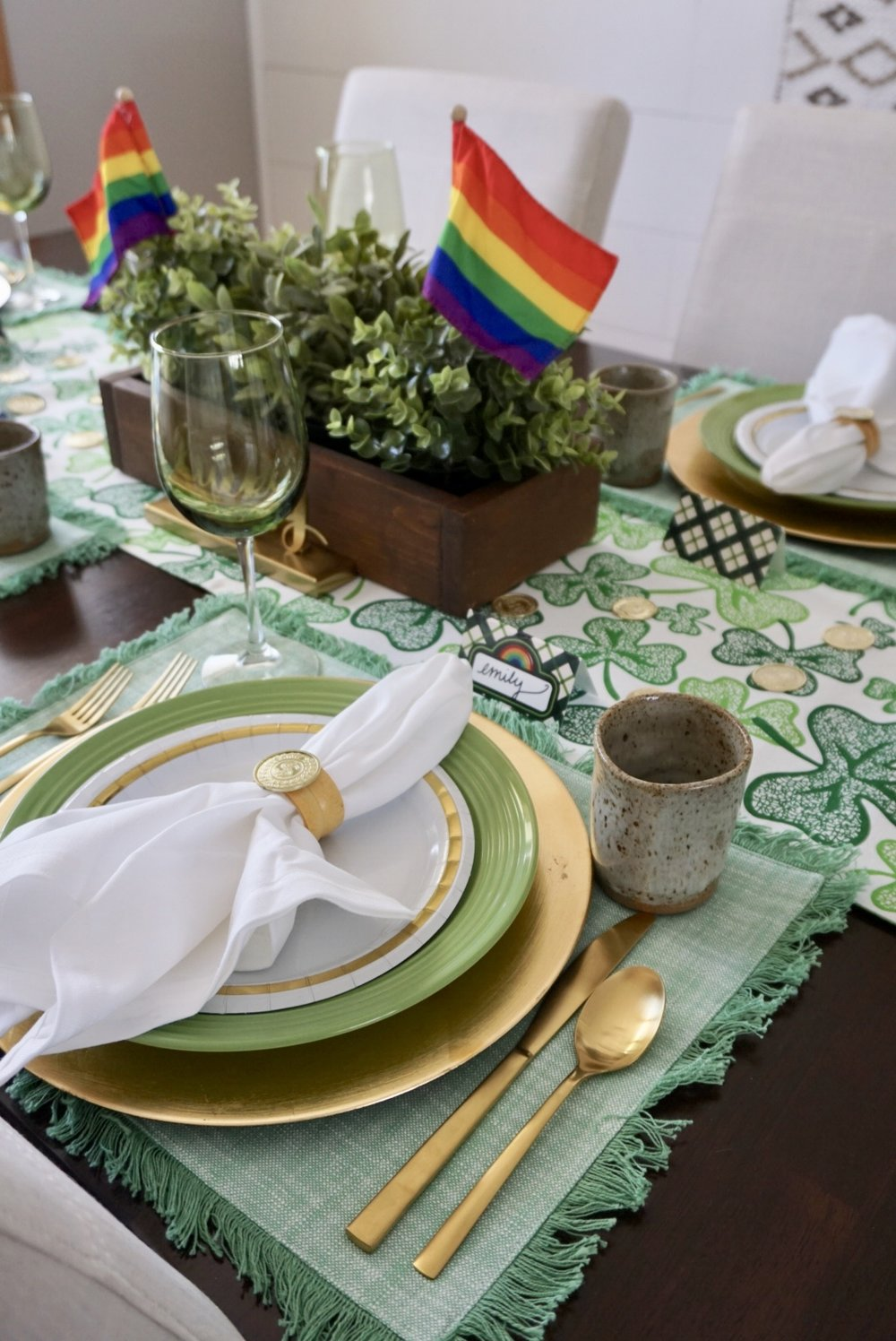 St. Patrick's Day place setting on a budget with items from Target, Dollar Tree, and thrift stores!