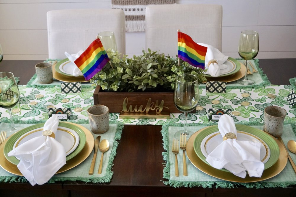 Green and rainbow themed St. Paddy's Day dinner table.