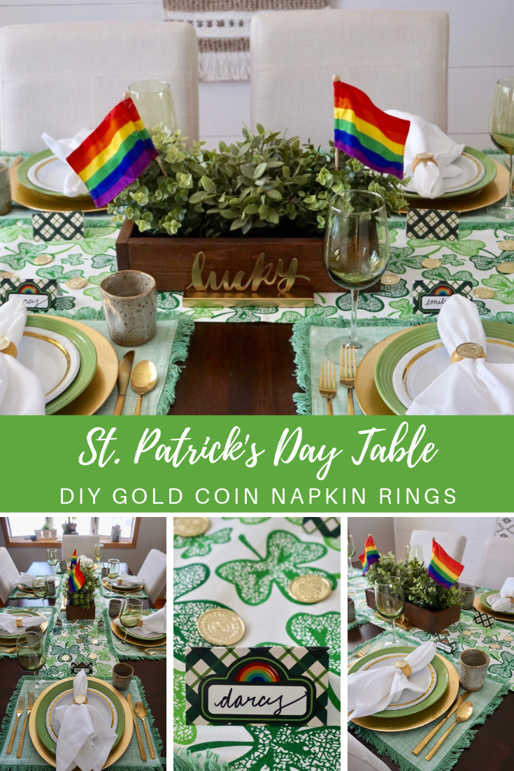 A festive St. Patrick's Day table doesn't have to cost you a pot of gold. Click here to get money saving tips, learn where to buy linens and dishes for bargain prices, and learn how to make your own napkin rings in under 10 minutes! #stpatricksday #stpaddystable #stpatricksdayparty #stpatricksdaytable #dollartree #budgetfriendlydecor #diynapkinrings #diytablescape