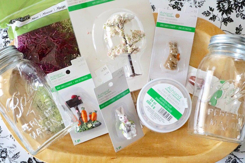 Michaels Tiny Treasures by Ashland and Ball Anniversary Edition Mason Jars make the perfect DIY fairy garden supplies.