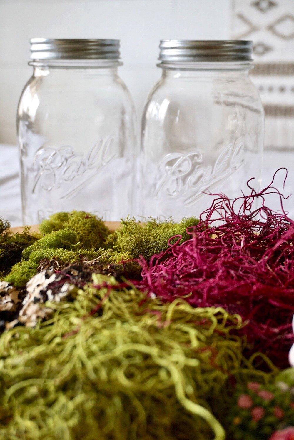 Green and Purple moss and Anniversary Edition Mason Jars