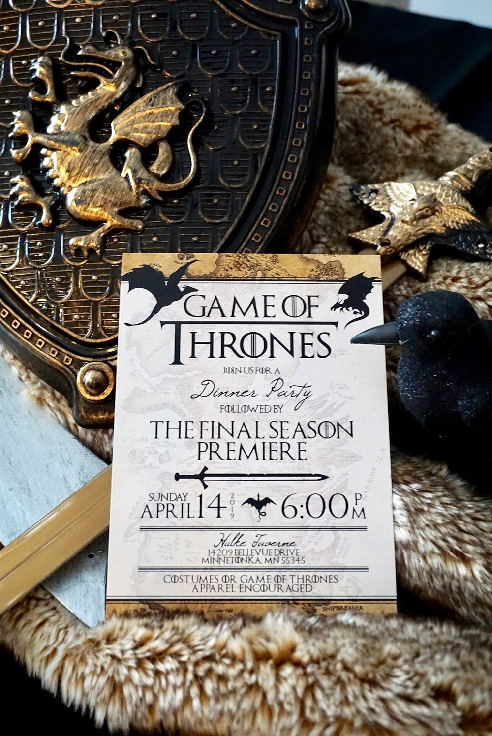 Game of Thrones watch party invitation