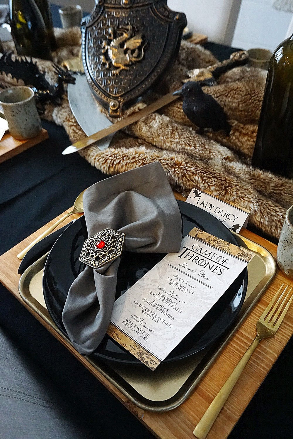 Game of Thrones dinner party complete with a themed menu.