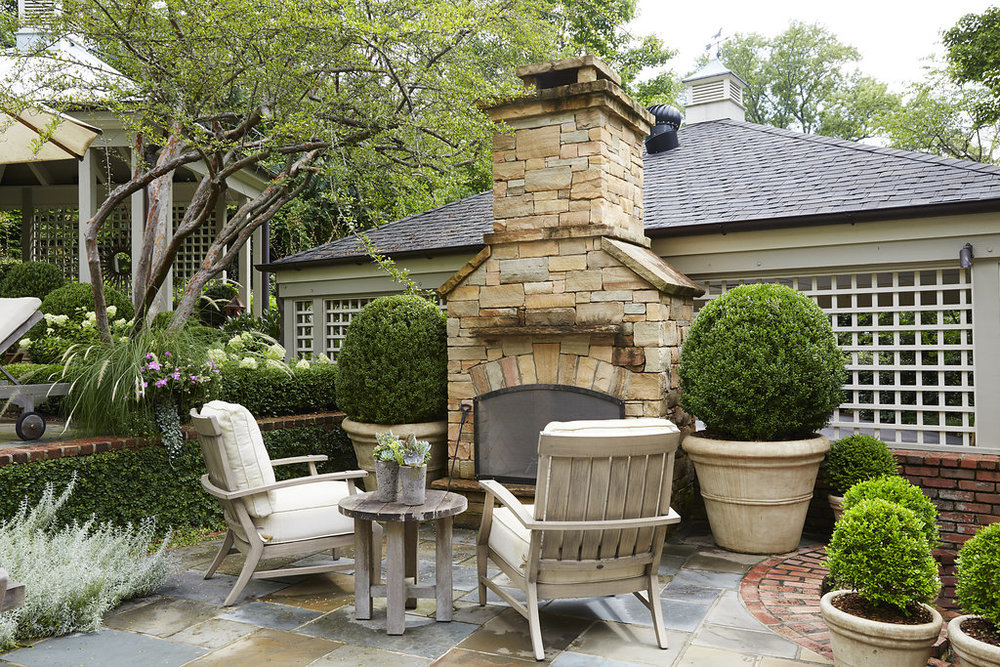 Custom built outdoor fireplace.