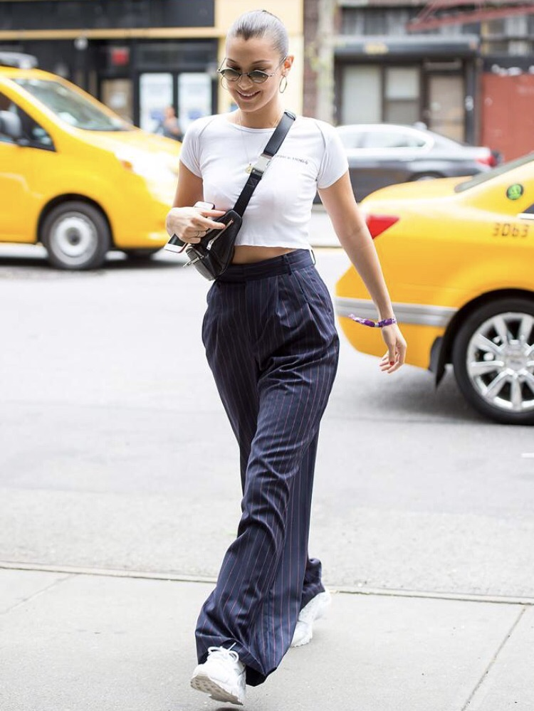 So you wanna B cool? - There is NOTHING COOLER than the effortless trouser.Wear them to the office, on a date, to brunch, the airport....& with your fugly hot sneakers.-Bella Hadid