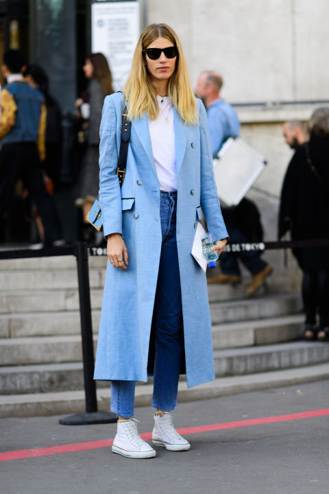 Casual - The classic blue jeans and crisp white t-shirt is so functional, it can never be wrong.When the powder blue coat is added, the look is ELEVATED FOR SUCCESS.Here.