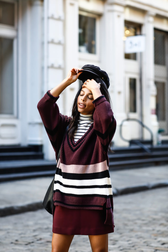 3 piece combo - You only need three things.A cool hat + an oversized sweater and your fav skirt.So good!