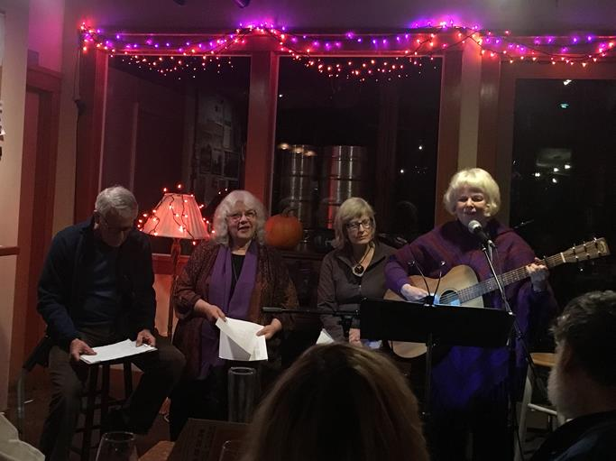 Holding the Light,  November 2017. Songs and poems for the Whatcom Peace and Justice Center. Scott Slaba, Elizabeth Harris, Colleen Schwartz, and me.