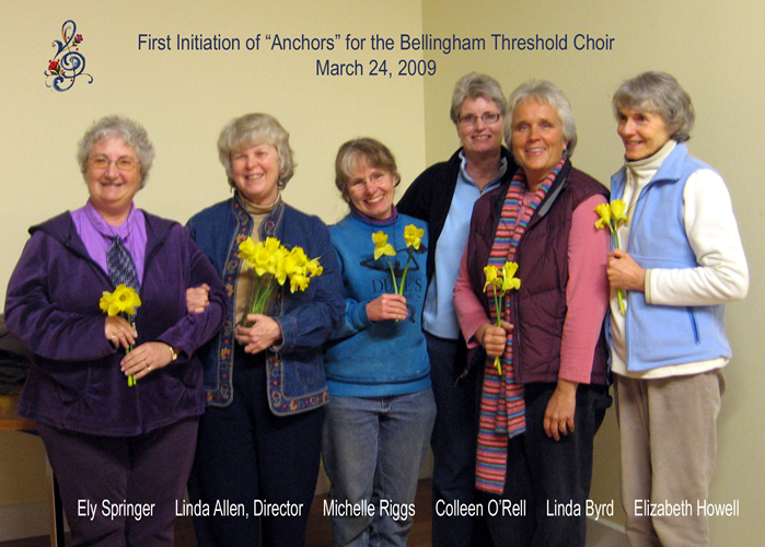 I began the Bellingham Threshold Singers in 2008, and then became a Certified Clinical Musician in 2009. The Singers go to the bedside of those who may be ill or dying.