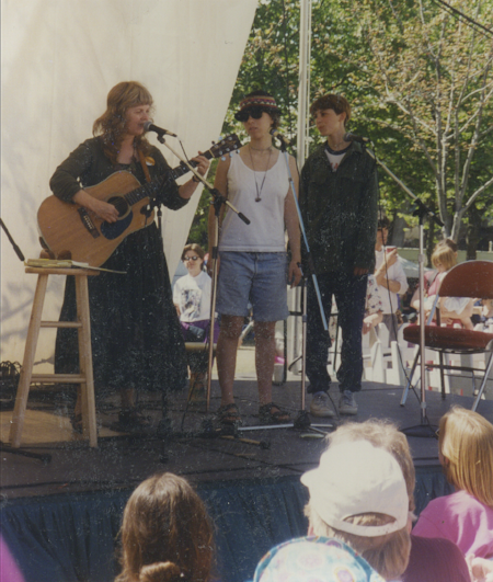 On stage at Northwest Folklife with Jennifer and Kristin.