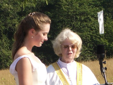 Officiating at a wedding, 2009