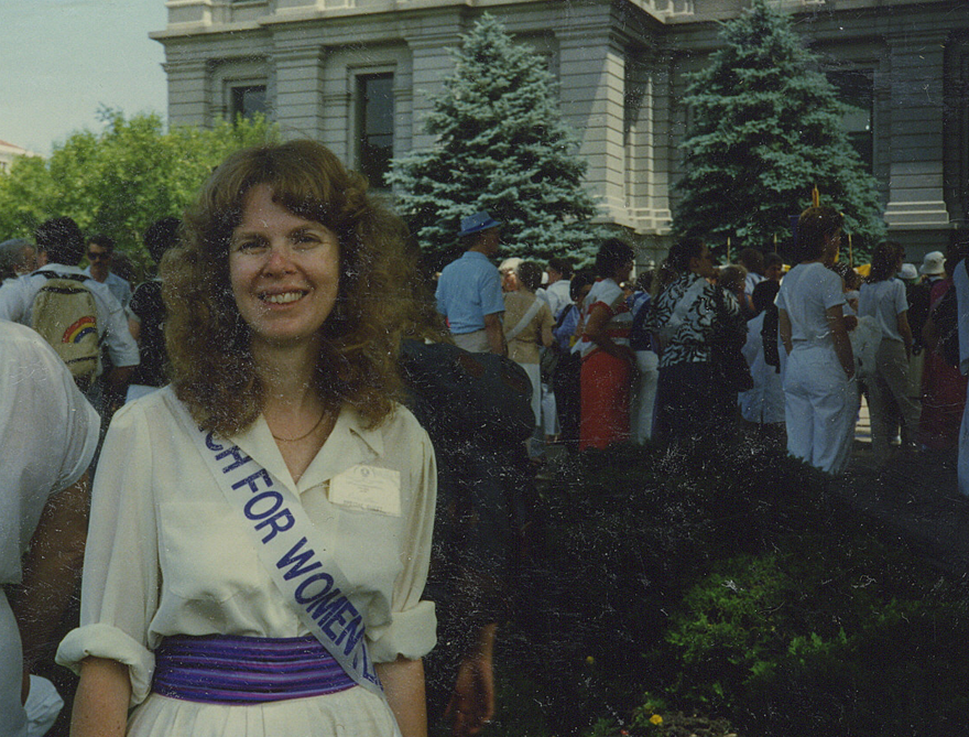 1986: Marching for the ERA in Denver, before her concert at the National NOW Conference.