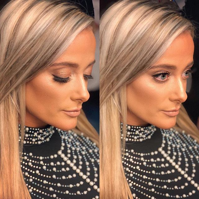 NYE glam 👌🏽 loved working on this face @danielle_sonia 🔥 - - @hudabeauty foundation  @chantecaille shadows  @giellacustomblendcosmetics M glam highlight  @stilacosmetics Caramel lipstick Lots of indi lashes 🖤