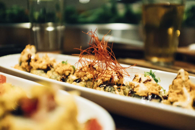 Boddy and Soul Roll from Shizen: tempura roll with spicy tofu, green onion, shichimi togarashi, sesame, spicy aioli, sweet soy