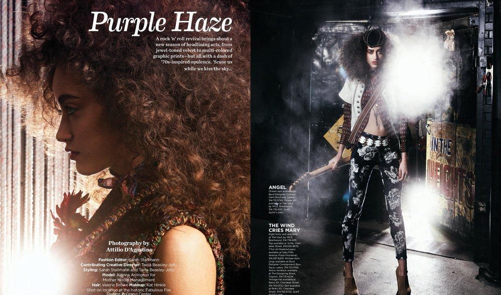 Creative Direction - ALIVE Magazine's 'Purple Haze' starring Alanna Arrington