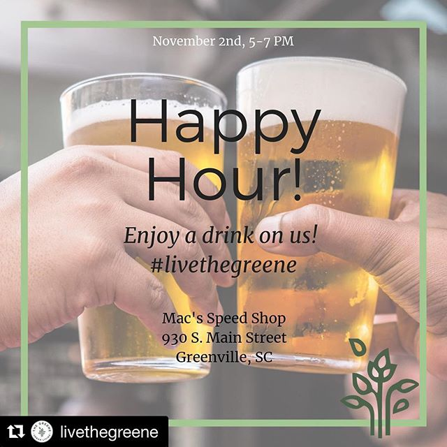 Go get yourself a beer at Mac's on @livethegreene! ・・・ Pop-up alert! We'll be @macsspeedshop TODAY from 5-7 PM for happy hour. We're excited to officially be a part of the West End and want to celebrate with you. Drinks are on us! 🍻 ——————————————————————— #macsspeedshop #happyhour  #yeahthatgreenville #gvltoday #upstatesc #reedyriver #greenvillesc #igersgreenville #instagvl #greenville360 #greenvillescrealestate #greenvillescrentals #apartmentlove #apartmentrentals #apartmenttour #apartments #newapartments #apartmentsearch #apartmentsforrent #livethegreene #thegreenelife