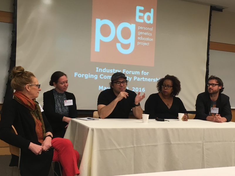 Genetics on Screen panel Q&A with (from left) Anne Merchant (NAS Science & Entertainment Exchange), Carylanna Taylor (filmmaker ANYA), Jacob Okada (filmmaker, ANYA, CURTIS), Angela Tucker (filmmaker, Black Folk Don't), Mike Cahill (filmmaker, I Origins and Another Earth). Photo by pgEd.