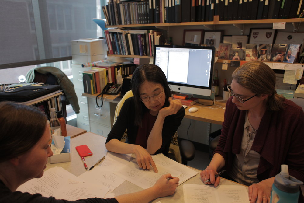 ANYA science advisors  Dr. Ting Wu  &  Dr. Ruth McCole  tweak a scene in ANYA's script with anthropologist Dr. Carylanna Taylor & documentarian Jacob Okada (behind the camera) at Harvard Medical School's  Wu Lab  and  Personal Genetics Education Project (pgEd) . Read more about  Ting's mission to educate the broader public about genetics ,  Ting's thoughts on the film's relevance , and  Ruth's experiences  helping us accurately portray genetics and geneticists.