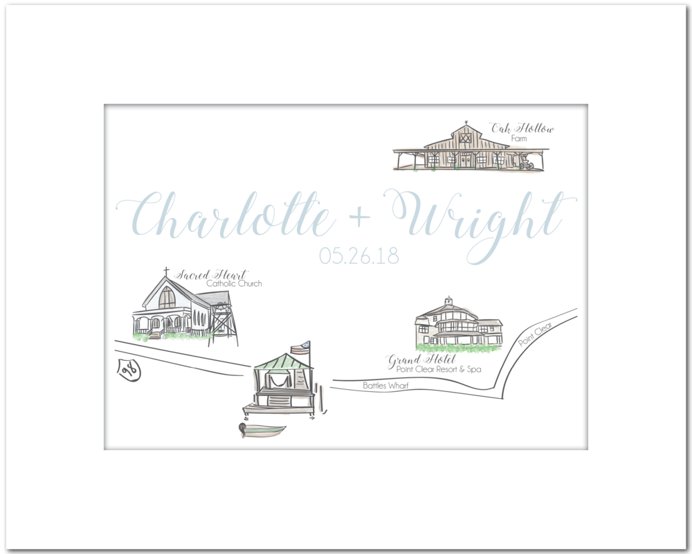 Cox Wedding Map // Battles Wharf, AL