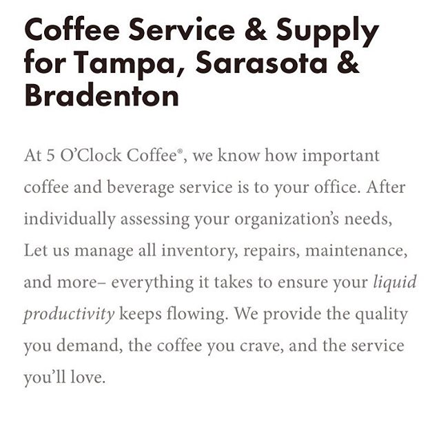 Call us for a free estimate for all your coffee service needs! Check out our website for more information! #fiveoclockcoffee