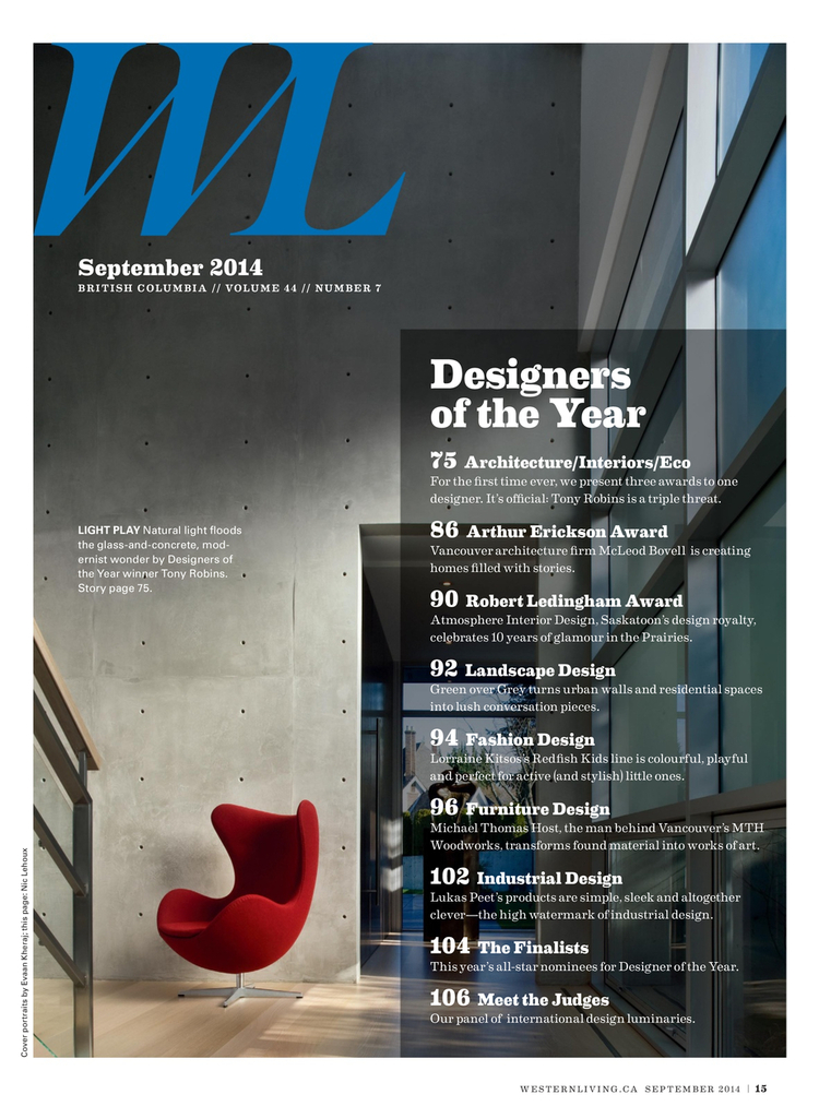 Western Living Magazine - 2014 DESIGNER OF THE YEAR ISSUE